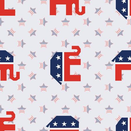 Broken elephants seamless pattern on american stars background. USA presidential elections patriotic wallpaper. Wallpaper pattern vector illustration.