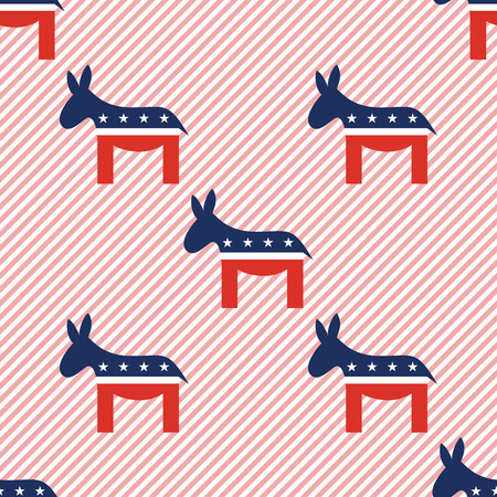Donkeys seamless pattern on red stripes background. USA presidential elections patriotic wallpaper. Wrapping pattern vector illustration. Illustration