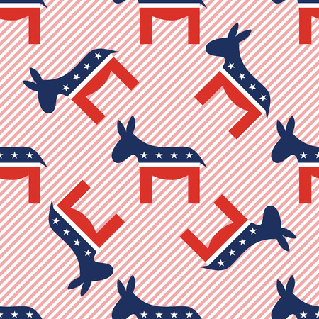 Donkeys seamless pattern on red stripes background. USA presidential elections patriotic wallpaper. Tiling pattern vector illustration. Stock Illustratie