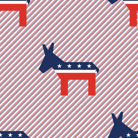 Broken donkeys seamless pattern on red and blue stripes background. USA presidential elections patriotic wallpaper. Surface pattern vector illustration. Illustration