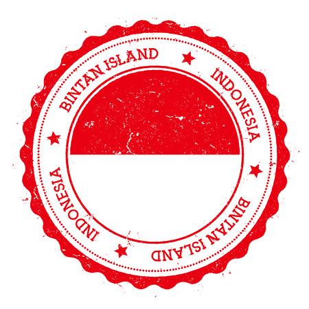 Bintan Island flag badge. Vintage travel stamp with circular text, stars and island flag inside it. Vector illustration. Illustration