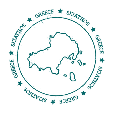 Skiathos vector map. Distressed travel stamp with text wrapped around a circle and stars. Island sticker vector illustration.