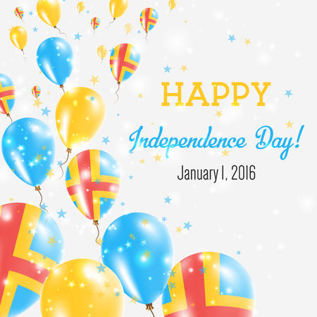 Aland Islands Independence Day Greeting Card. Flying Balloons in Aland Islands National Colors. Happy Independence Day Aland Islands Vector Illustration.