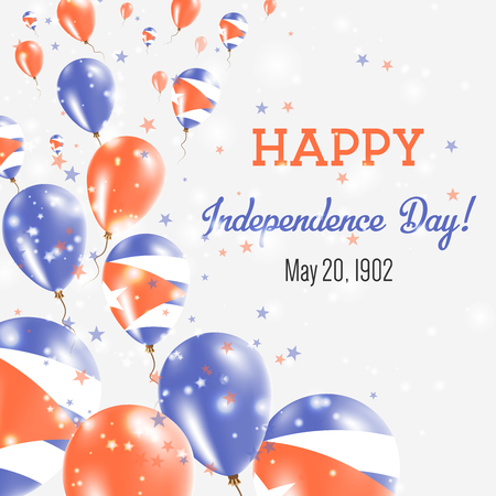 Cuba Independence Day Greeting Card. Flying Balloons in Cuba National Colors. Happy Independence Day Cuba Vector Illustration.  イラスト・ベクター素材
