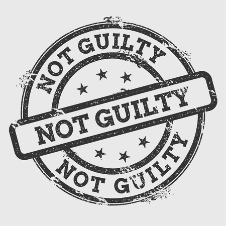 Not Guilty rubber stamp isolated on white background. Grunge round seal with text, ink texture and splatter and blots, vector illustration.
