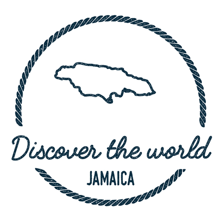 Jamaica Map Outline. Vintage Discover the World Rubber Stamp with Jamaica Map. Hipster Style Nautical Rubber Stamp, with Round Rope Border. Country Map Vector Illustration.