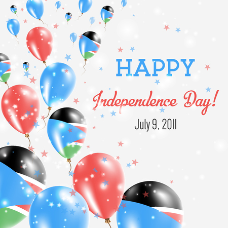 South Sudan Independence Day Greeting Card. Flying Balloons in South Sudan National Colors. Happy Independence Day South Sudan Vector Illustration.
