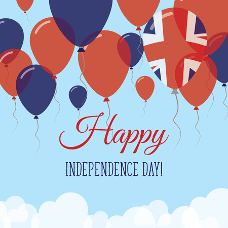 United Kingdom Independence Day Flat Greeting Card. Flying Rubber Balloons in Colors of the British Flag. Happy National Day Vector Illustration.