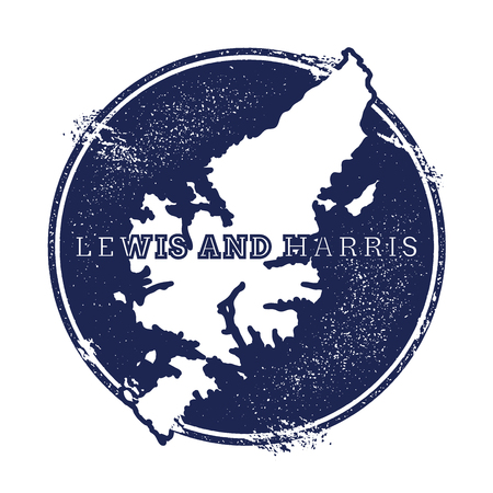 Lewis and Harris vector map. Grunge rubber stamp with the name and map of island, vector illustration. Can be used as insignia, logotype, label, sticker or badge.