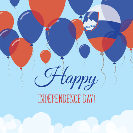 Slovenia Independence Day Flat Greeting Card. Flying Rubber Balloons in Colors of the Slovene Flag. Happy National Day Vector Illustration.