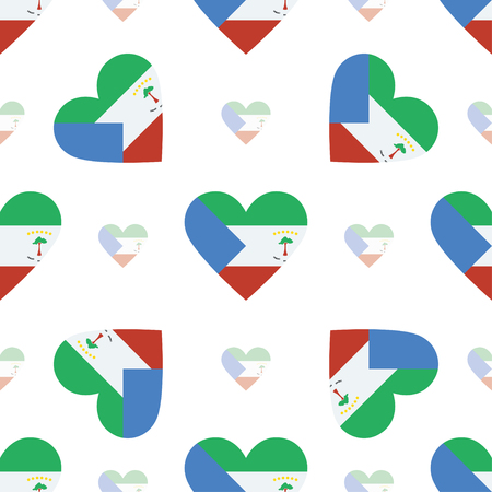Equatorial Guinea flag patriotic seamless pattern. National flag in the shape of heart. Vector illustration.