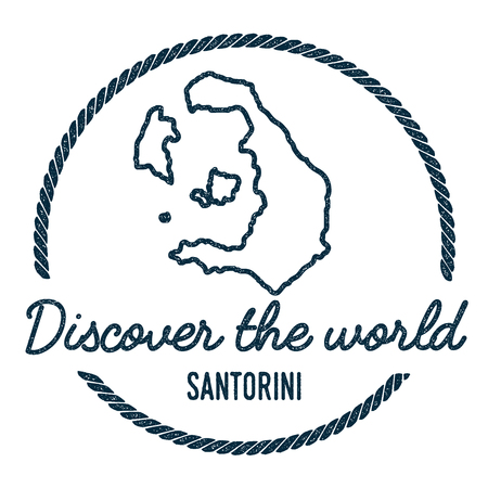 Santorini Map Outline. Vintage Discover the World Rubber Stamp with Island Map. Hipster Style Nautical Insignia, with Round Rope Border. Travel Vector Illustration.