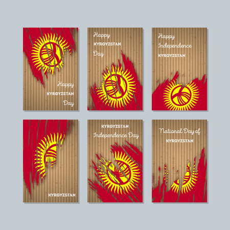 Kyrgyzstan Patriotic Cards for National Day. Expressive Brush Stroke in National Flag Colors on kraft paper background. Kyrgyzstan Patriotic Vector Greeting Card.