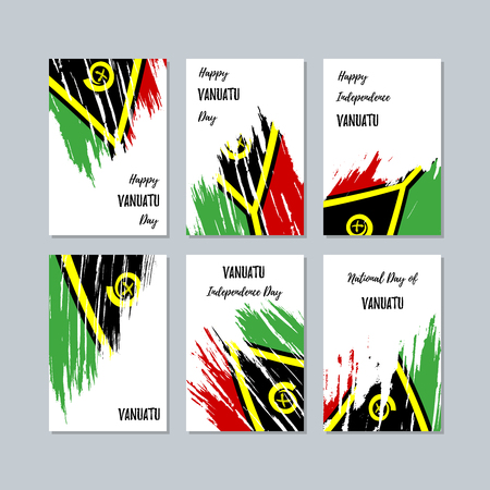 Vanuatu Patriotic Cards for National Day. Expressive Brush Stroke in National Flag Colors on white card background. Vanuatu Patriotic Vector Greeting Card. Illustration