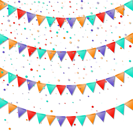 Impressive celebration card. Bright colorful holiday decorations and confetti. Bunting flags vector illustration. Illustration