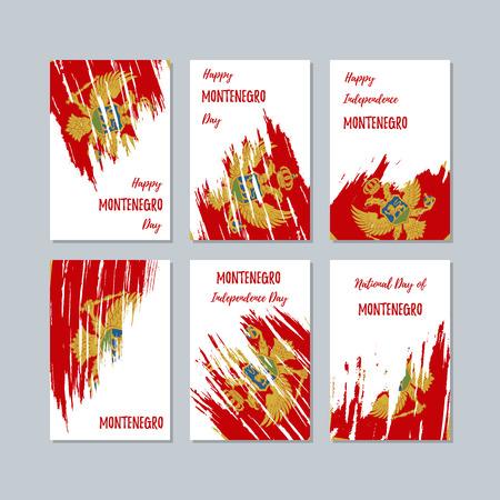 Montenegro Patriotic Cards for National Day. Expressive Brush Stroke in National Flag Colors on white card background. Montenegro Patriotic Vector Greeting Card.