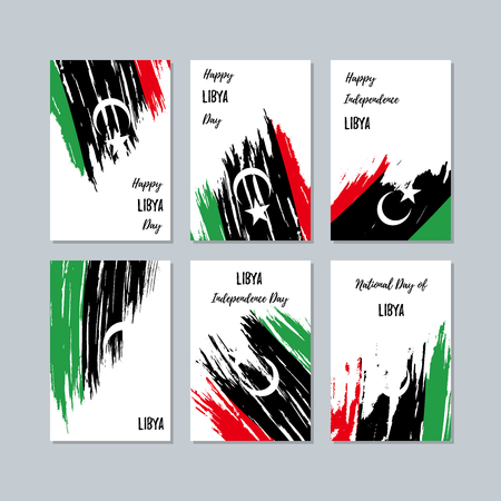 Libya Patriotic Cards for National Day. Expressive Brush Stroke in National Flag Colors on white card background. Libya Patriotic Vector Greeting Card. Vettoriali