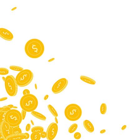 American dollar coins falling. Scattered floating USD coins on white background. Surprising scattered bottom left corner vector illustration. Jackpot or success concept. Illusztráció