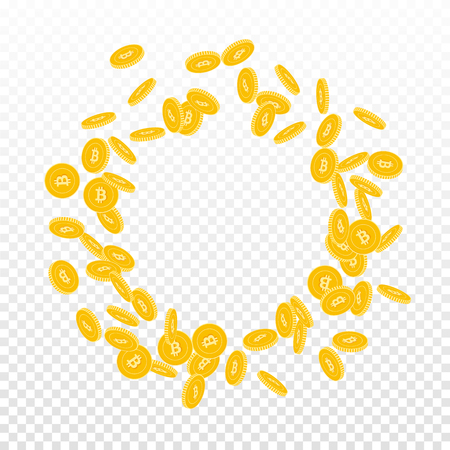Bitcoin, internet currency coins falling. Scattered small BTC coins on transparent background. Marvelous round scattered frame vector illustration. Jackpot or success concept.