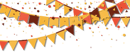Bunting fair flags. Adorable celebration card. Autumn holiday decorations and confetti. Bunting fair flags vector illustration.