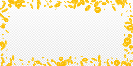 British pound coins falling. Scattered disorderly GBP coins on transparent background. Neat wide scattered frame vector illustration. Jackpot or success concept.