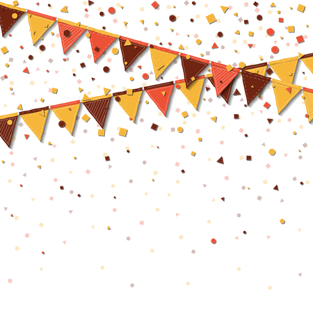 Bunting fair flags. Awesome celebration card. Autumn holiday decorations and confetti. Bunting fair flags vector illustration.