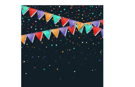 Bunting flags garland. Flawless celebration card. Bright holiday decorations and confetti. Bunting flags garland vector illustration. Illustration
