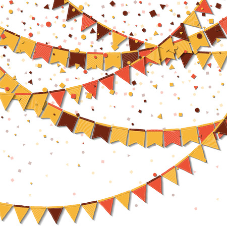 Bunting fair flags. Artistic celebration card. Autumn holiday decorations and confetti. Bunting fair flags vector illustration.