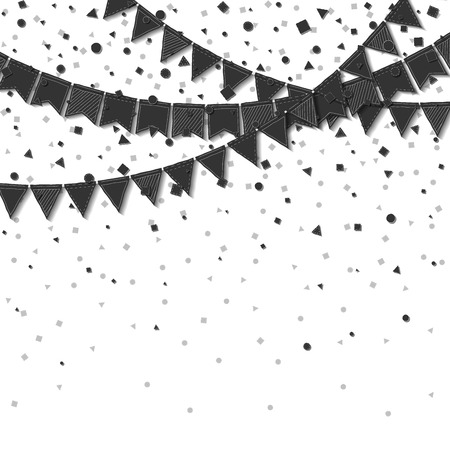 Bunting flags. Bold celebration card. Balck on white holiday decorations and confetti. Bunting flags vector illustration.