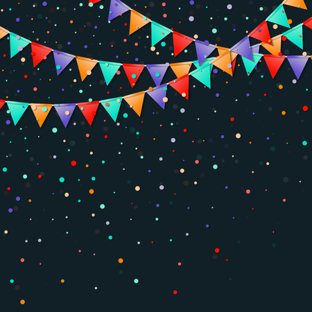 Bunting flags garland. Fabulous celebration card. Bright holiday decorations and confetti. Bunting flags garland vector illustration.