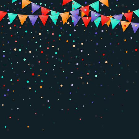 Bunting flags garland. Fancy celebration card. Bright holiday decorations and confetti. Bunting flags garland vector illustration. Illusztráció