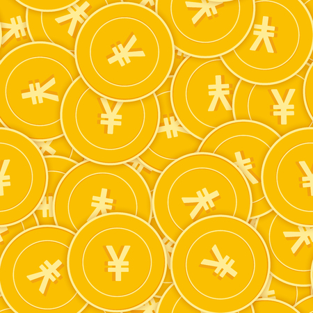 Chinese yuan coins seamless pattern. Incredible scattered CNY coins. Big win or success concept. China chaotic shadow money pattern. Coin tile vector illustration.