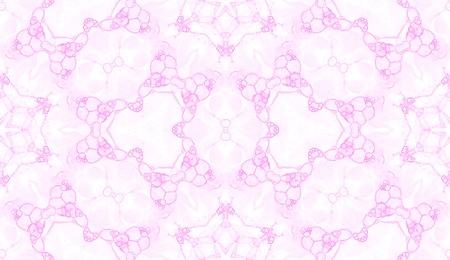 Modèle sans couture rose. Étonnantes bulles de savon délicates. Ornement textile dessiné à la main en dentelle. Impression de lingerie kaléidoscope mandala. Fond aquarelle abstraite éblouissante.