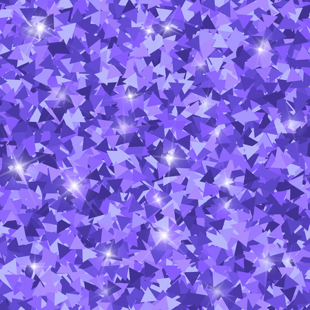 Glitter seamless texture. Adorable purple particles. Endless pattern made of sparkling triangles. Popular abstract vector illustration.