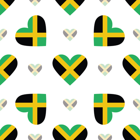 Jamaica flag patriotic seamless pattern. National flag in the shape of heart. Vector illustration.