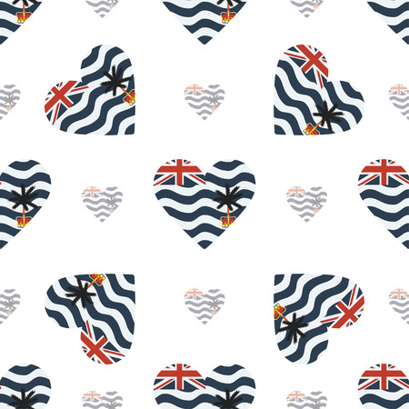 British Indian Ocean Territory flag patriotic seamless pattern. National flag in the shape of heart. Vector illustration.