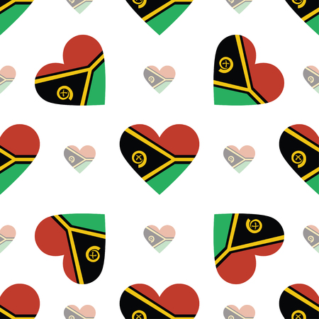 Vanuatu flag patriotic seamless pattern. National flag in the shape of heart. Vector illustration.