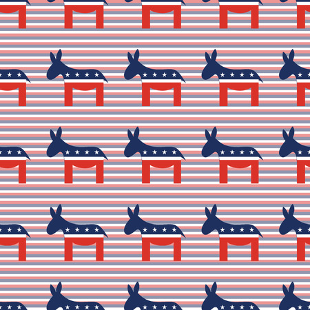 Donkeys seamless pattern on red and blue diagonal stripes background. USA presidential elections patriotic wallpaper. Continuos pattern vector illustration.