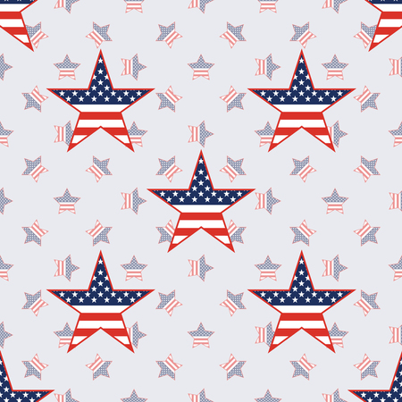 US patriotic stars seamless pattern on american stars background. American patriotic wallpaper. Wrapping pattern vector illustration.