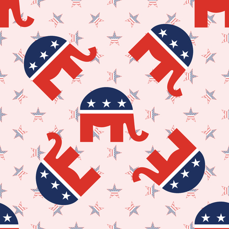 Elephants seamless pattern on national stars background. USA presidential elections patriotic wallpaper. Scalable pattern vector illustration.