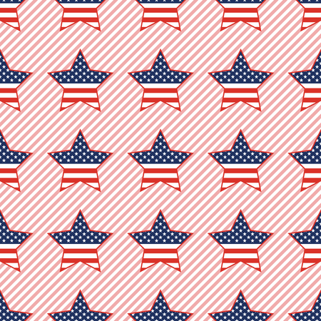 USA patriotic stars seamless pattern on red stripes background. American patriotic wallpaper with USA patriotic stars. Continuos pattern vector illustration.