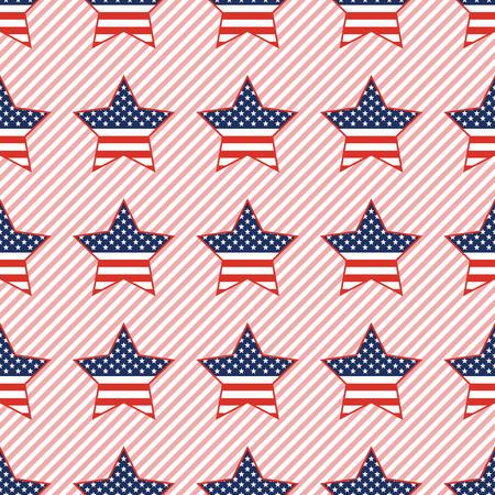 Modello senza cuciture di stelle patriottiche USA su sfondo a strisce rosse. Carta da parati patriottica americana con stelle patriottiche USA. Illustrazione di vettore del modello continuo.