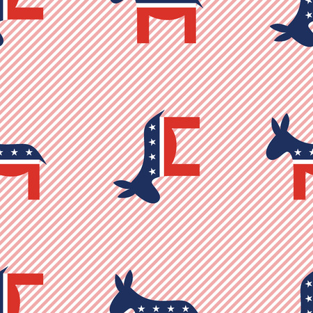 Donkeys seamless pattern on red stripes background. USA presidential elections patriotic wallpaper. Wallpaper pattern vector illustration.