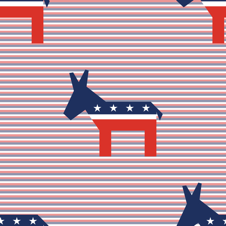 Broken donkeys seamless pattern on red and blue diagonal stripes background. USA presidential elections patriotic wallpaper. Surface pattern vector illustration.