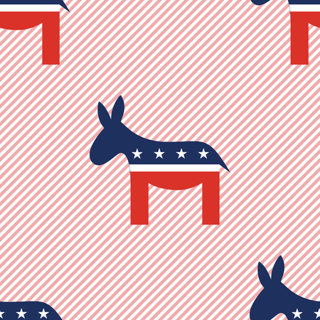 Donkeys seamless pattern on red stripes background. USA presidential elections patriotic wallpaper. Surface pattern vector illustration.