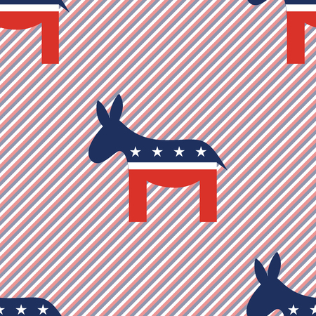 Donkeys seamless pattern on red and blue stripes background. USA presidential elections patriotic wallpaper. Surface pattern vector illustration.