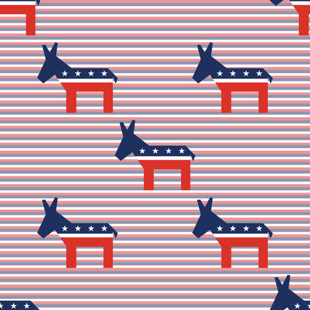 Broken donkeys seamless pattern on red and blue diagonal stripes background. USA presidential elections patriotic wallpaper. Wrapping pattern vector illustration.
