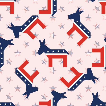 Broken donkeys seamless pattern on national stars background. USA presidential elections patriotic wallpaper. Grid pattern vector illustration.