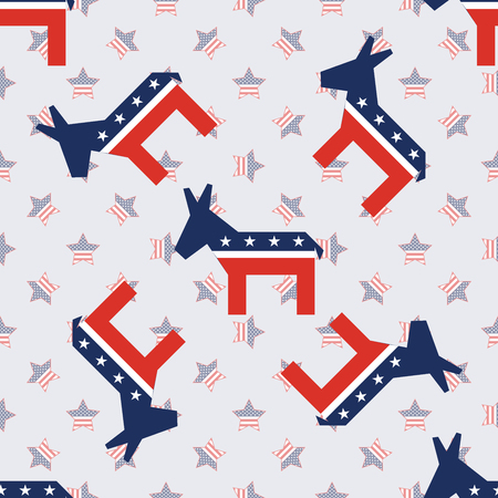 Broken donkeys seamless pattern on american stars background. USA presidential elections patriotic wallpaper. Scalable pattern vector illustration.