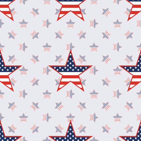 US patriotic stars seamless pattern on american stars background. American patriotic wallpaper. Tillable pattern vector illustration. Illustration